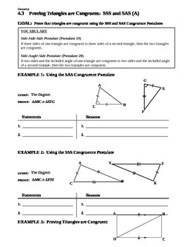 4.3 Proving Triangles are Congruent SSS and SAS (A)