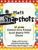 44 1st Grade Math Snapshots- Weekly Assessments CCSS Aligned