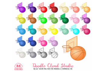 44 Colorful Basket Clipart Basketball Sort Planner Stickers PNG .