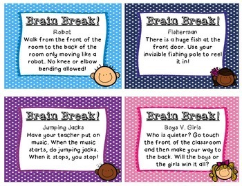 44 Colorful Brain Break Cards!
