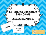 44 European City Latitude & Longitude Task Cards