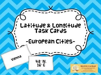 44 European City Latitude & Longitude Task Cards