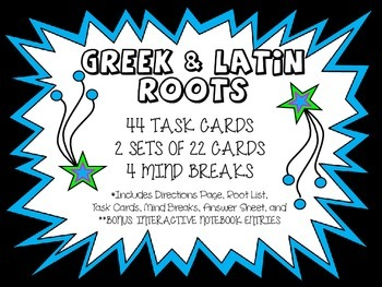 44 Greek and Latin Roots (Notes, 2 Sets of 22 QR Code Task Cards, Game Board)