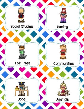 Library Book Bin Labels (Genre, Pictures, & Levels)  Colorful Rainbow Theme