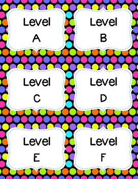 Library Book Bin Labels (Genre, Pictures, & Levels)  Polka Dot Theme Decor