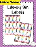 Library Book Bin Labels (Genre, Pictures, & Levels)  Rainbow Chevron Theme