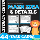 44 Main Idea Task Cards (Informational - All About Animals!   Differentiated)
