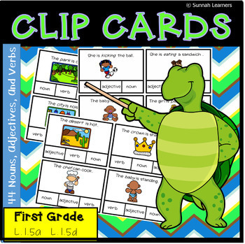 44 Nouns, Adjectives, And Verbs Clip Cards