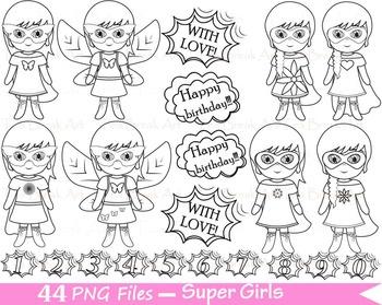 44 PNG- Girls SuperHeroes Outline Set Clipart - Digital Cl
