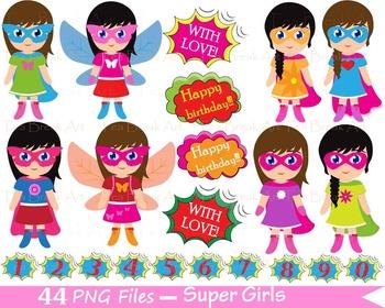44 PNG- Girls SuperHeroes Set Clipart - Digital Clip Art - 300 dpi 054