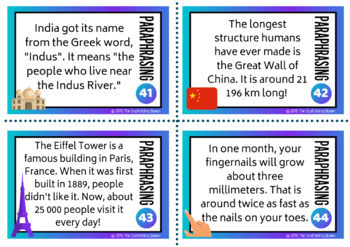 44 Paraphrasing Task Cards for Diverse / International context (Differentiated)