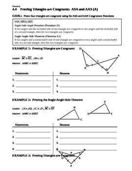4.4 Proving Triangles are Congruent ASA and AAS (A)