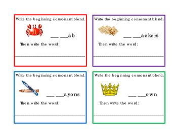 44 Task Card Beginning Consonant Blend Letter Writing Reading Journal Supplement