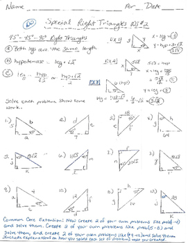 45-45-90 Right Triangles Worksheet