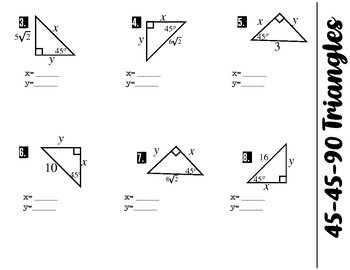 45-45-90 Special Right Triangle Foldable