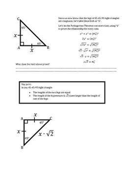 45-45-90 Special Right Triangle Notes