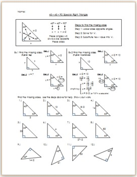 45-45-90 Special Right Triangle - Practice/HW