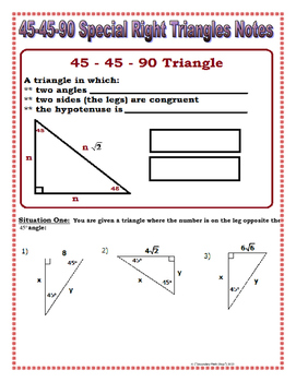 Right Triangles   45 45 90 Special Right Triangles Notes ...