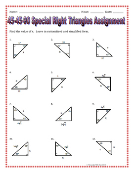 Right Triangles - 45 45 90 Special Right Triangles Notes and Practice