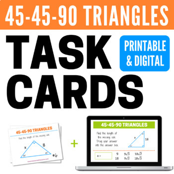 45-45-90 Triangles Task Cards and Boom Cards