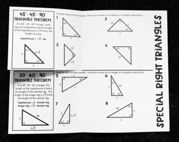45-45-90 and 30-60-90 (Geometry Foldable)