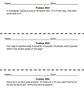 45 Daily Middle School Math Word Problems - Set 2
