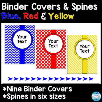 45 Editable Binder Covers & Spines in Primary Colors: Blue, Red, and Yellow