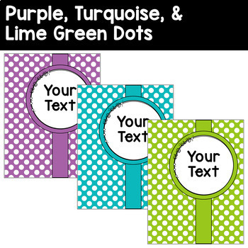 45 Editable Binder Covers & Spines in Purple, Turquoise, and Lime Green