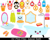 45 PNG Files- Kawaii Bath CLipArt -Personal/Commercial Use - 108