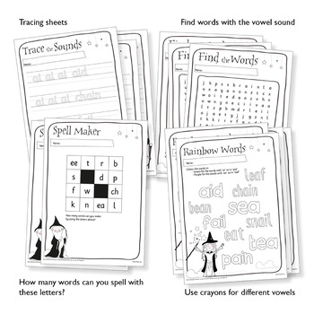 45 Phonics Revision Activities: Vowel Sounds: /eɪ/ and /iː/ (ai, ay, ee, ea)