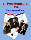 45 Presidents of the USA Notebooking Pages