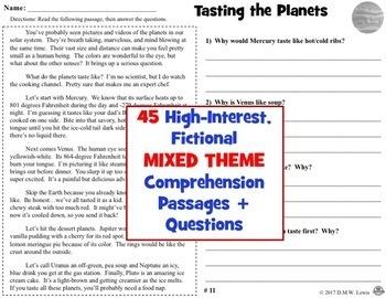 BUNDLE 45 Reading Comprehension Passages: Fun Reading Comprehension