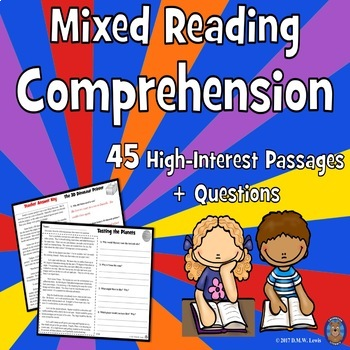 BUNDLE 45 Reading Comprehension Passages: Fun Spring Reading Comprehension