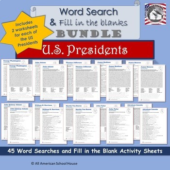 Bundle - 45 U.S. Presidents Hidden Message Word Searches & Fill in the Blanks