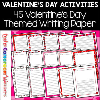 45 Valentine's Day Themed Writing Paper