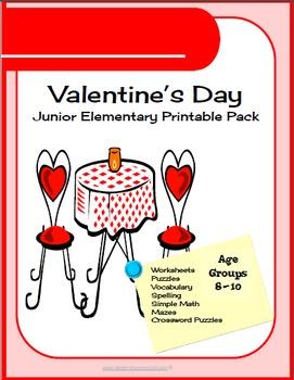 450 pg Valentine Day Junior Elementary Printable Worksheet & Puzzles Packet