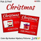 Christmas Addition and Subtraction Coloring Sheets