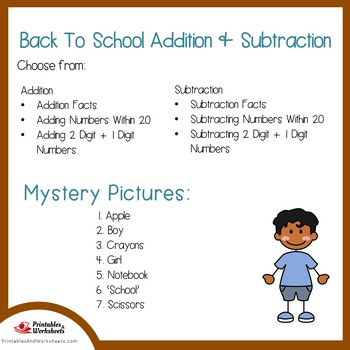 Back to School Addition and Subtraction Coloring Sheets, Mystery Pictures