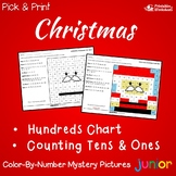 Color By Number Hundreds Chart Christmas Mystery Picture Worksheets