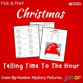 Math Christmas Color By Number Time Mystery Picture Worksheets