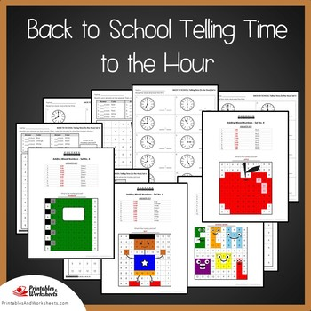 Back to School Telling Time To the Hour Coloring Sheets, Mystery Pictures