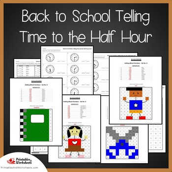Back to School Telling Time To the Half Hour Coloring Sheets,