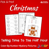 Christmas Time Coloring Sheet To The Half Hour, Mystery Picture Pages