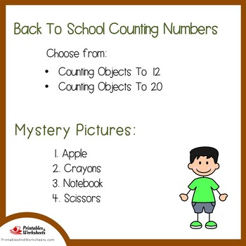 Back to School Counting Numbers Coloring Sheets, Mystery Pictures