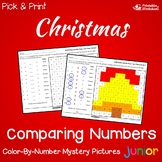 Christmas Comparing Numbers Coloring By Number Mystery Picture Worksheets