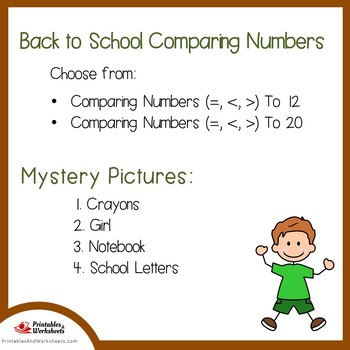 Back to School Comparing Numbers Coloring Sheets, Mystery Pictures