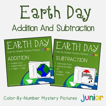 Earth Day Addition And Subtraction Coloring Sheets Mystery Pictures