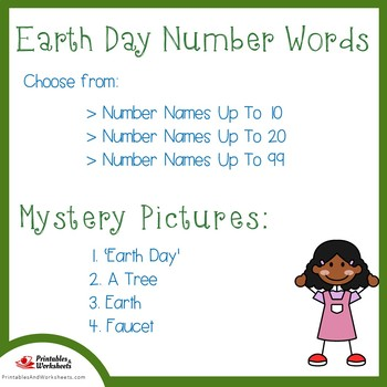 Earth Day Number Words Coloring Sheets, Earth Day Number Names