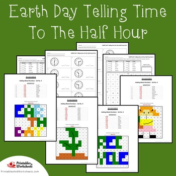 Earth Day Telling Time To The Half Hour Coloring Sheets Mystery Pictures