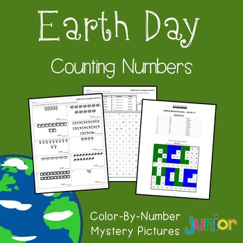 Earth Day Counting Numbers Coloring Sheets, Mystery Pictures